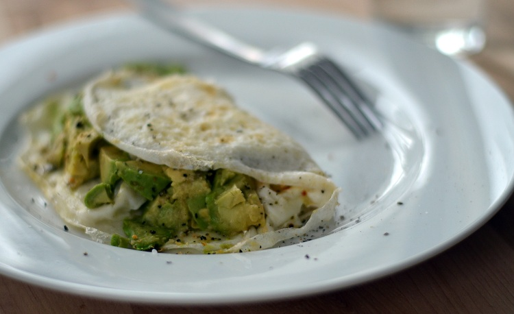 Avocado and Onion Egg White Omelet
